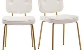 Shunzhi Modern Tufted Dining Chairs, Velvet Fabric Upholstered Side Chairs Set of 2 with Golden Metal Leg for Kitchen/Dining Room/Living Room/Bedroom/Vanity (Cream)
