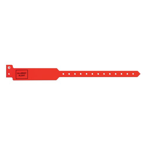 """PDC Healthcare Sentry 5052-16-PDJ Polyester Adult Alert Wristband, """"Allergy Alert"""" Pre-Printed, Permanent Snap Closure, Red (Box of 250)"""