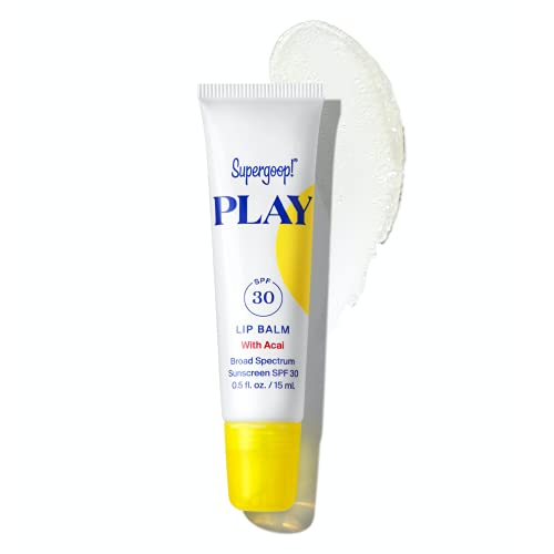 Supergoop! PLAY Lip Balm with Acai, 0.5 fl oz – SPF 30 PA+++ Reef Safe, Broad Spectrum Sunscreen – With Hydrating Honey, Shea Butter & Sunflower Seed Oil – Clean Ingredients – Great for Active Days