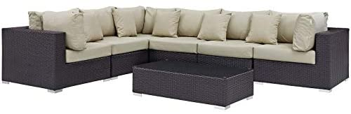 Modway Convene Collection 7-Piece Outdoor Patio Sectional Set in Espresso Beige
