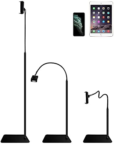 """Tablet Floor Stand -iPad Gooseneck Tablet Holder Mount with Adjustable Height & 3.9lb Stable Base, Compatible with iPad Mini Air , Galaxy Tab, Kindle, Cell Phones (4.5""""-7.5"""")"""