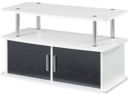 Convenience Concepts Designs2Go Deluxe 2 Door TV Stand with Cabinets, White