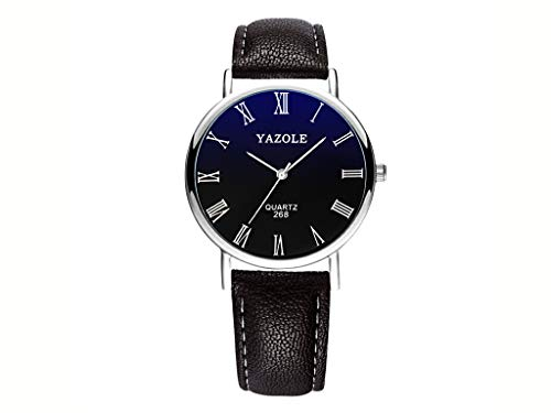 YAZOLE Mens Blu-Ray Roman Numerals Quartz Analog Wrist Watch, Faux Leather Band, Black Band Black Dial