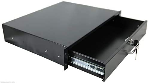 RAISING ELECTRONICS Rack Mount DJ 19inch Rack Case Equipment Deep Drawer 2U 2 Space Locking Lockable