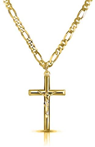 Verona Jewelers Men and Women 24″ Stainless Steel 3.8MM Figaro Chain Necklace Crucifix Cross Pendant (Silver Color)
