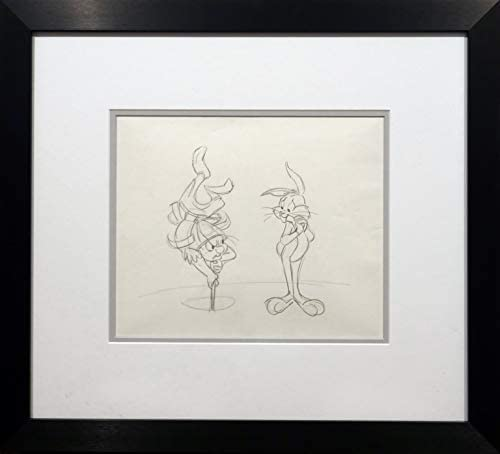 Chuck Jones Animation Drawing of What's Opera Doc Bugs and Elmer Fudd in New Museum Framing