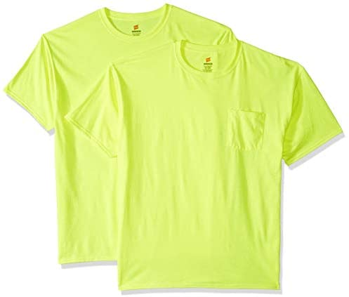 Hanes Men's Workwear Short Sleeve Tee (2-Pack), Safety Green, Large