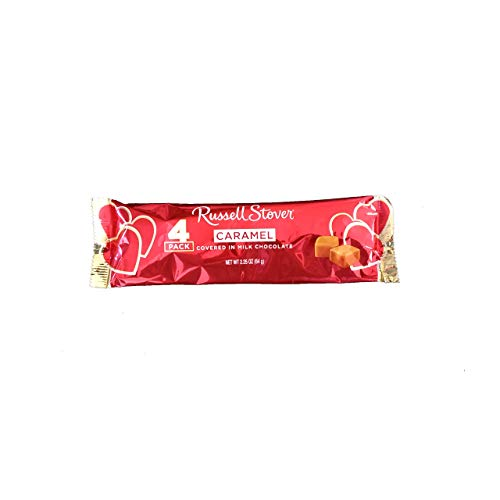 Russell Stover (1 Pack) Caramel Covered Milk Chocolate Candy Bar Net (4 Individual Pieces) Wt. 2.25 oz / 64 g each