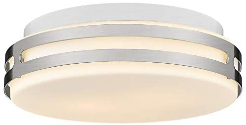 Autelo Modern Close to Ceiling Light Fixture, 12-inch Glass Shade Flush Mount Light Fixture in Brushed Nickel Finish for Living Room Hallway Bedroom Foyer C3578 ST