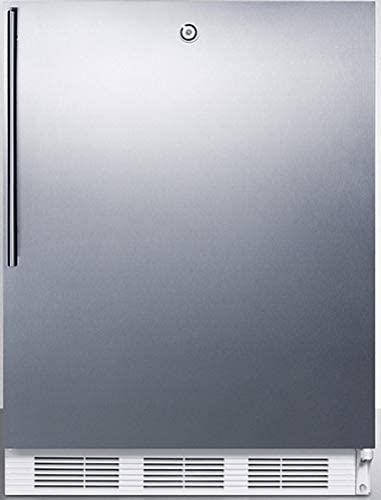 Summit Appliance CT66LWBISSHVADA ADA Compliant Built-in Undercounter Refrigerator-Freezer for General Purpose Use with Lock, Dual Evaporator Cooling, Stainless steel Door, Thin Handle & White Cabinet