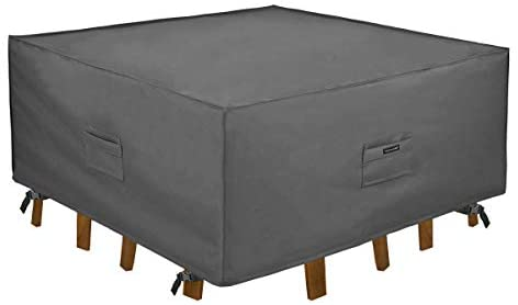 Patio Watcher Patio Furniture Cover Durable and Water Resistant Outdoor Square Furniture Sets Cover with Secure Buckle Straps, Grey Small, 54 Inch