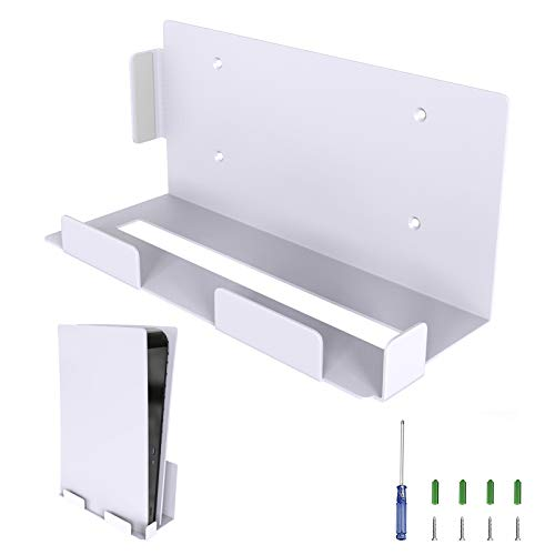 SHINEZONE Wall Mount for PS5 Hanging on the wall Screw fixation Playstation 5 Storage Metal Shelf Organizer (White)