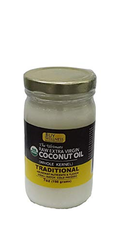 Extra Virgin Coconut (Whole Nut) Oil Organic Cold Pressed Fresh Coconut Oil extra Rich 7 oz Glass Jar
