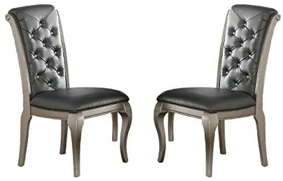Poundex Liboria 2 Antique Silver Rubber Wood Dining Chairs, Multi