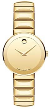 Movado Women's Sapphire Yellow Gold Watch with a Concave Dot Museum Dial, Gold (Model 607214)