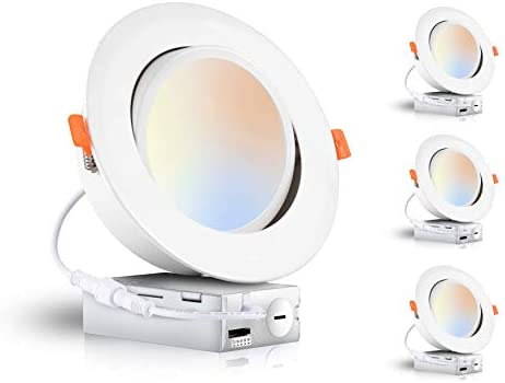 Cloudy Bay 15W 6 inch 5 Color Swivel LED Gimbal Recessed Light with Junction Box, IC Rated Air Tight Flicker Free,120V CRI90+, 2700K/3000K/3500K/4000K/5000K Temperature Selectable,White, Pack of 4