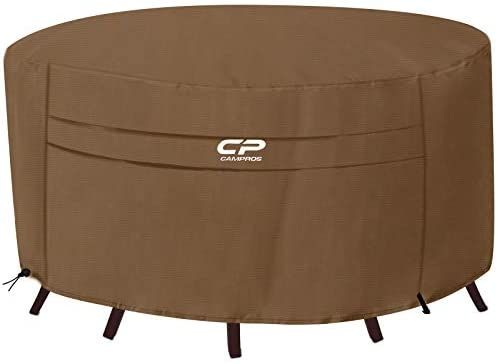 CAMPROS Round Patio Table Cover 84 Inch Heavy Duty Canvas Ultimate Waterproof Dining Table Outdoor Patio Furniture Cover – Brown