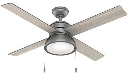 Hunter Fan Company 51031 Loki Indoor Ceiling Fan with LED Light and Pull Chain Control, 52″, Matte Silver
