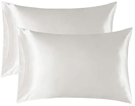 Bedsure Satin Pillowcase for Hair and Skin Silk Pillowcase 2-Pack, Queen Size (Ivory, 20×30 inches) Pillow Cases Set of 2 – Satin Pillow Covers with Envelope Closure