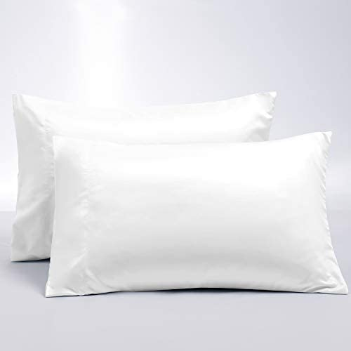 BEDELITE Upgraded Double-Sided Pillowcase for Hair and Skin, White Pillow Case Queen Size Set of 2, Cooling Silky Lyocell & Super Soft Brushed Microfiber Pillow Cover with Envelope Closure(20×30)