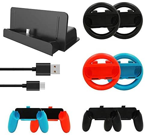 eLUUGIE 10 in 1 Accessory Kit 4X Replacement Steering Wheel/ 4X Jon Con Grips Handle for Joy-Con Controller/1x Charging Dock Stand with 1x Type C Cable Compatible with Nintendo Switch (10 in 1)