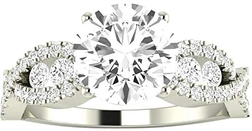 2.47 Carat 14K White Gold Designer Twisting Eternity Channel Set Four Prong GIA Certified Round Cut Diamond Engagement Ring (1.97 Ct G Color VVS2 Clarity Center Stone)