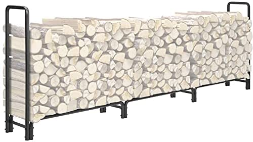 KINGSO 12ft Firewood Rack Outdoor Heavy Duty Log Rack Firewood Storage Rack Holder Steel Tubular Easy Assemble Fire Wood Rack for Patio Deck Log Storage Stand for Indoor Outdoor Fireplace Tool