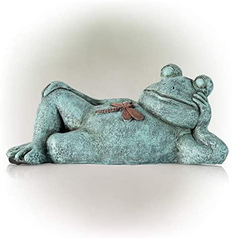 Alpine Corporation ZEN720 Frog Relaxing Statue w/Dragonfly, 7 Inch Tall, Multi-Color
