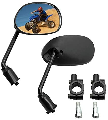 Enoch ATV Motorcycle Rear View Mirror,10mm Adaptersor or 7/8″ Handlebar Mount Compatible, compatible with Snowmobile, Motorcycle Scooter, Moped Honda ATV Dirt Bike accessories(Black Finish)