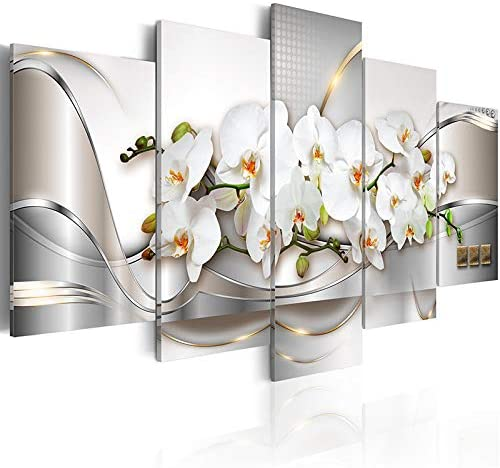Orchid Flowers Wall Art White Floral Paintings on Canvas Prints Abstract Pictures for Living Room Decorations