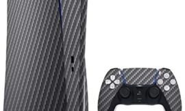 Textured Black Carbon Fiber – Design Skinz Full-Body Cover Wrap Decal Skin-Kit Compatible with The Sony Playstation 5 Console (Disc Drive) + Controller