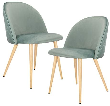 Dining Chairs Set of 2 Mid Century Modern Upholstered Kitchen Chairs Makeup Chairs with Soft Velvet Seat and Wooden Style Metal Legs Accent Side Chair for Living Dinning Kitchen Bedroom Green