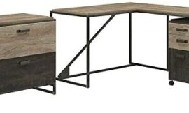GodSend 3 Piece Industrial Office Set in Rustic Gray-Home Office Furniture Sets-Computer Desk-Home Office desks-Desk with Drawers-Storage Cabinet-Home Office Desk-Home Office Furniture Set
