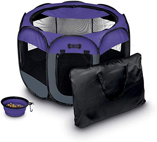 Ruff 'n Ruffus Portable Foldable Pet Playpen + Free Carrying Case + Free Travel Bowl | Available in 3 Sizes | Exercise Pen Kennel Indoor/Outdoor Water-Resistant Removable Shade Cover Dogs/Cats/Rabbit