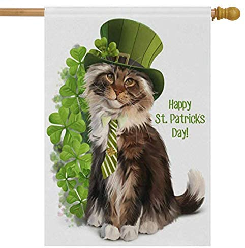 Wamika St Patrick's Day House Flag 28 x 40 Double Sided, Cat Leprechaun Watercolor Clover Shamrock Garden Yard Flags Spring Welcome Outdoor Indoor Banner for Party Home Saint Patricks Day Decoration