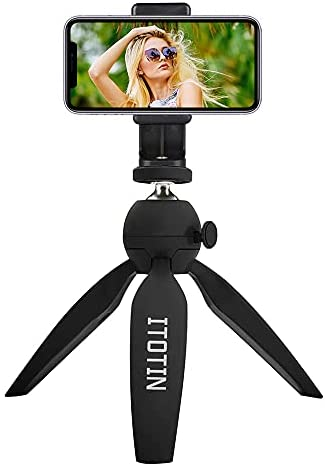 Mini Tripod, Tabletop Desktop Tripod with Phone Tripod Adapter for Smartphone Camera, Fit for Any 2.16″ to 4.13″ Wide Smartphones