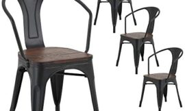 LSSBOUGHT Tolix Style Metal Dining Chair Indoor-Outdoor Use Kitchen Chairs Stackable Arm Chairs Set of 4 (Black)