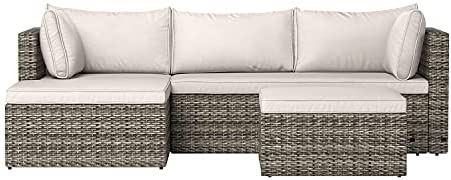 Amazon Basics Outdoor Reversible Chaise Wicker Rattan Sectional 3-Piece Set with Cushions and Ottoman, Gray