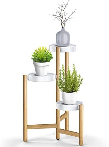 ADOVEL Plant Stand for Indoor Plants, 3 Tier Tall Corner Bamboo Pot Holder – White