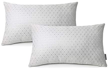 Meetoryhome Decorative Pillow Covers, Set of 2 Jingle Silver Diamond Plaid Cushion Covers Texture Jacquard Check Throw Pillowcases for Home Decoration, 12 x 20 inch White