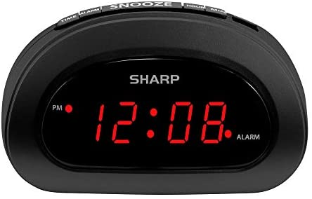 SHARP Small Digital Alarm Clock with Snooze and Battery Backup, Easy to Use Top Button Controls with Red LED Display (Black)