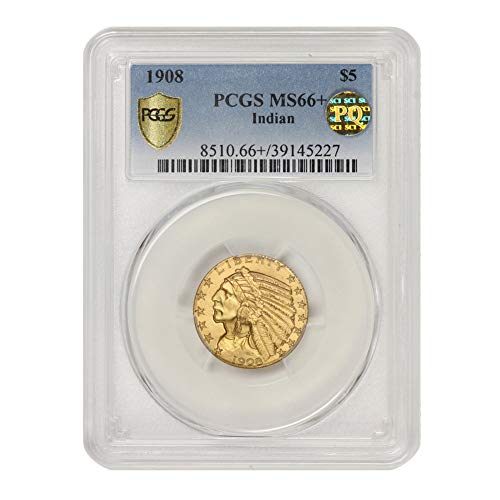 1908 American Gold $5 Indian Head Half Eagle MS-66+ PQ Approved by CoinFolio $5 MS66+ PCGS