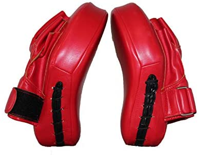 Guon-Wuvl Sports Boxing Curved Focus Leather Focus Boxing Gloves Mitts for Training Pair for Women and Men MMA, Kickboxing, Muay Thai Sparring