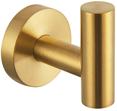 Bathroom Towel Hook, Angle Simple SUS304 Stainless Steel Bath Towel Holder, Robe Hook for Wall, Brushed Gold