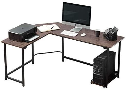 VECELO Corner Desk 66″ with CPU Stand/PC Laptop Study Writing Table Workstation for Home Office Wood & Metal,Coffee+Black Leg