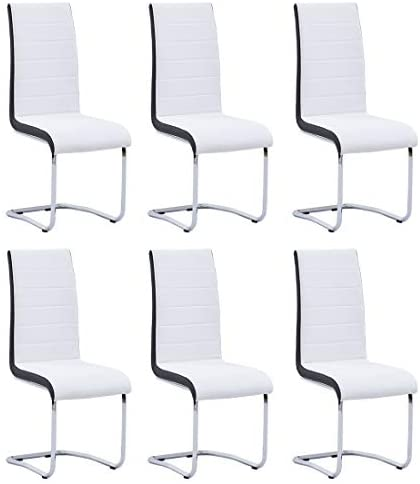 Dining Chairs Set of 6,Modern Indoor Kitchen Chairs,Sturdy Chrome Chair Legs and Faux Leather,Ergonomic Design Dining Room Chairs with High Back Soft Padded for Home Kitchen Apartment(6 White Chairs)