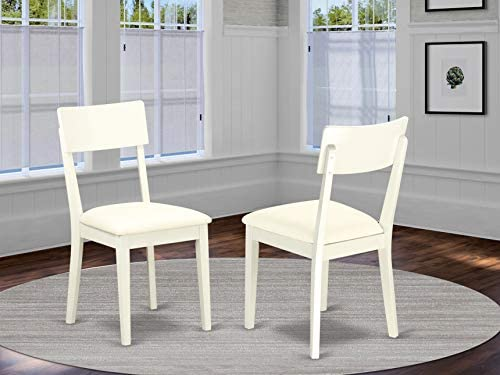 East West Furniture Andy Slat Back Dining Room Chairs- Faux Leather Seat and Linen White Hardwood Frame Dining Chair Set of 2
