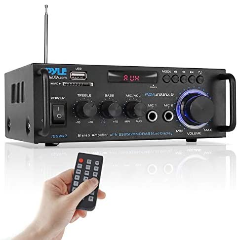 Pyle Wireless Bluetooth Stereo Power Amplifier – 200W 2 Channel Audio Stereo Receiver USA Warranty w/RCA, USB, SD, MIC in, FM Radio, for Home Theater Entertainment via RCA, Studio Use – Pyle PDA29BU