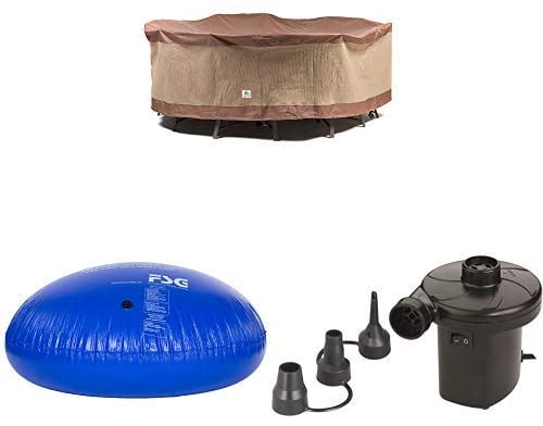 Duck Covers Ultimate Round Patio Table with Chairs Cover, 90-Inch with Duck Dome Airbag, 54″D x 24″H and Duck Dome Airbags Electric Air Pump