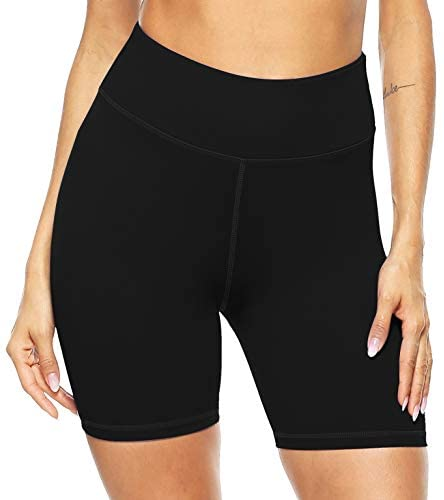 Persit Women's High Waist Print Workout Yoga Shorts with 2 Hidden Pockets, Non See-Through Tummy Control Athletic Shorts